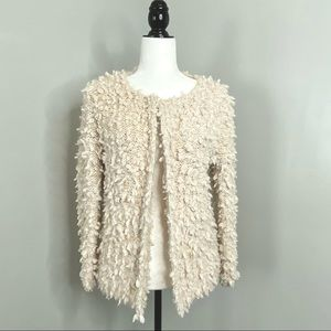 Fuzzy Cream Cape Style Sweater w/ Pom Poms OS